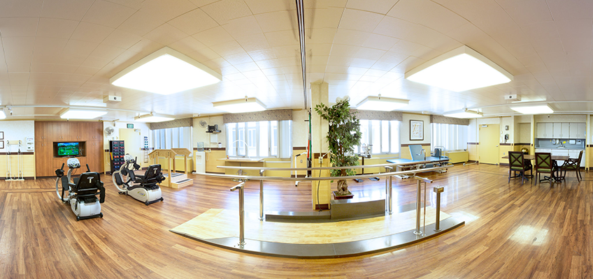 panoramic photo of the rehabilitation therapy room