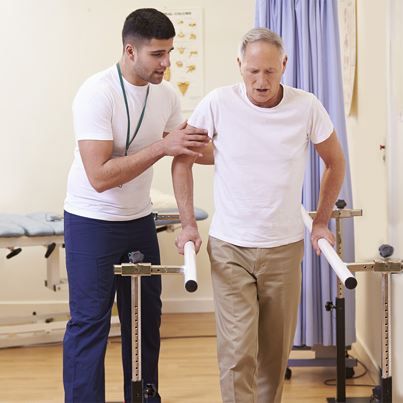Physical therapist assisting a patient on the parallel walking bars