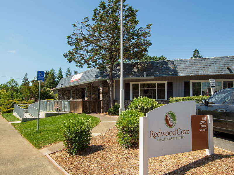 Redwood Cove entrance with handicapped access and the sign out front