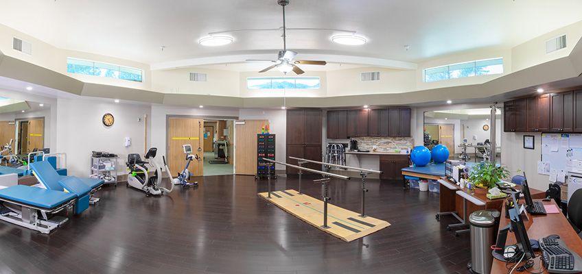 Redwood Cove's nicely organized rehabilitation equipment