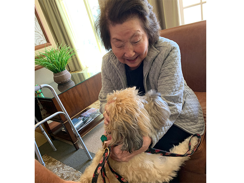 A resident reaching down to pet a dog.
