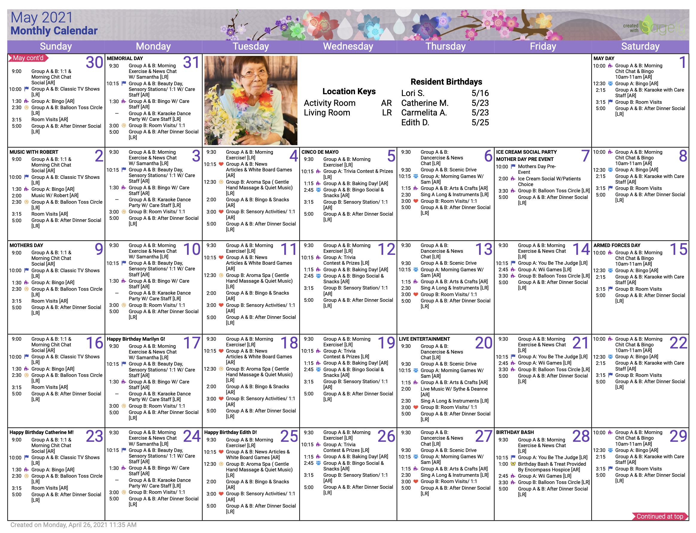Memory Care May Calendar