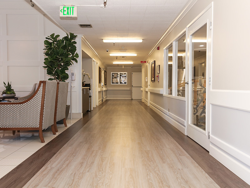 Recently remodeled hallway with hard wood flooring