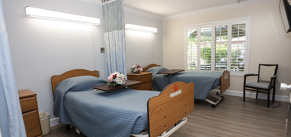 A double occupancy room with fresh flowers and natural light streaming in the windows