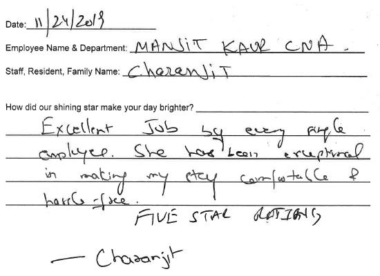Testimonial from Charanjit