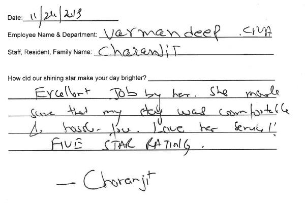 Handwritten testimonial from Charanjit