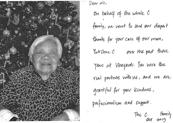 Handwritten testimonial and photo from the family of Yukshue C.