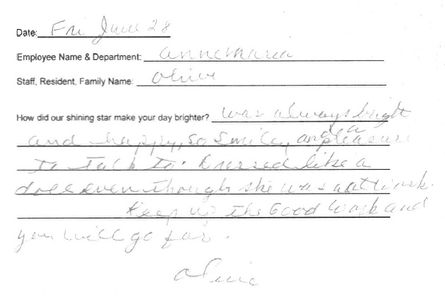 Handwritten testimonial from Olive