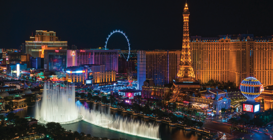 Las-Vegas-strip-dazzled-in-lights-and-water-features