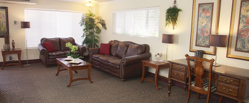 Roseville sitting area with plush leather couches, wall to wall carpeting, and art and plants decorating the room