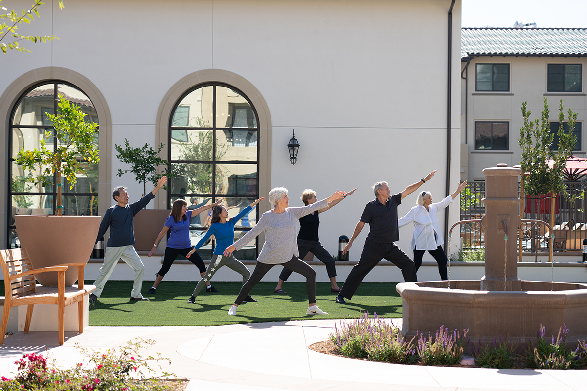 Group participating in yoga