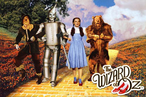 Wizard of Oz characters walking down the yellow brick road