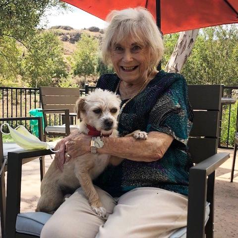 Resident Hertha Hollander and her furry friend, Brandy