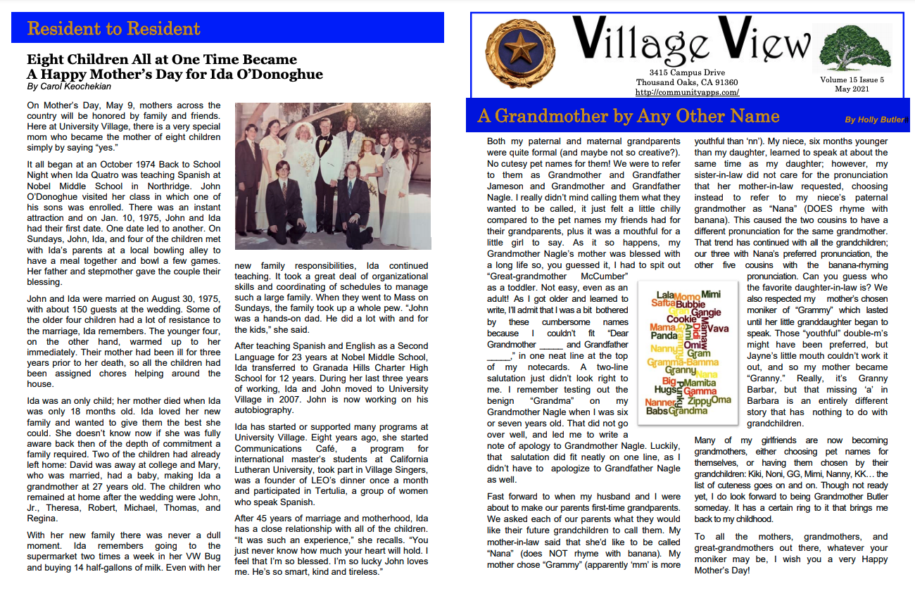 Village View Newsletter And Calendar May 2021