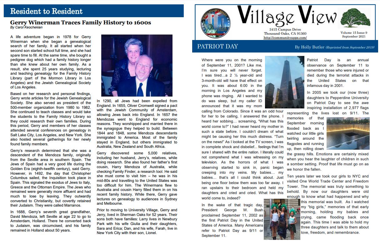 Village View Newsletter For September 2021