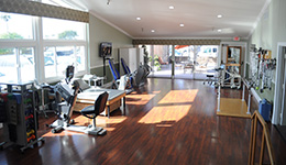 Therapy gym with new modern equipment.