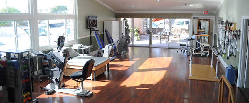 Well appointed therapy gym with a lot of new modern equipment.