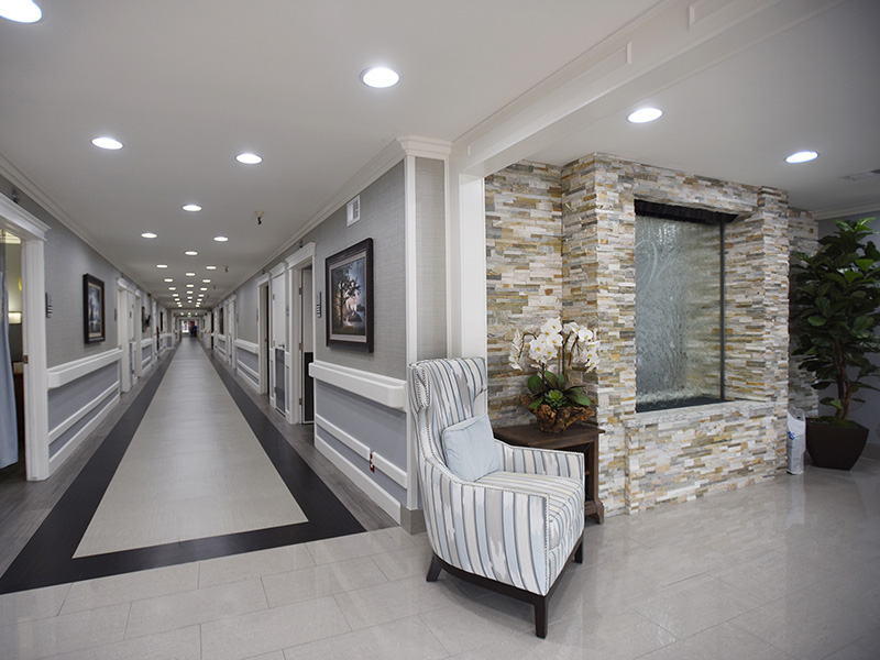 Valley Pointe front lobby and hallway leading to rooms