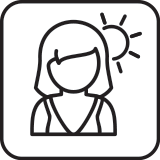 woman with sun icon