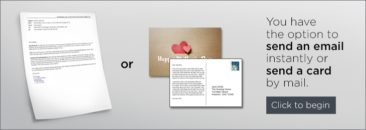 Send a greeting to a loved one button.