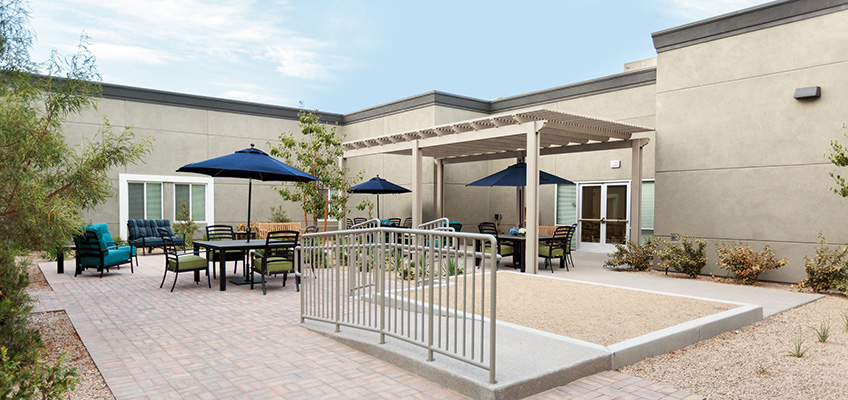 Outside seating options with covered and uncovered seating.
