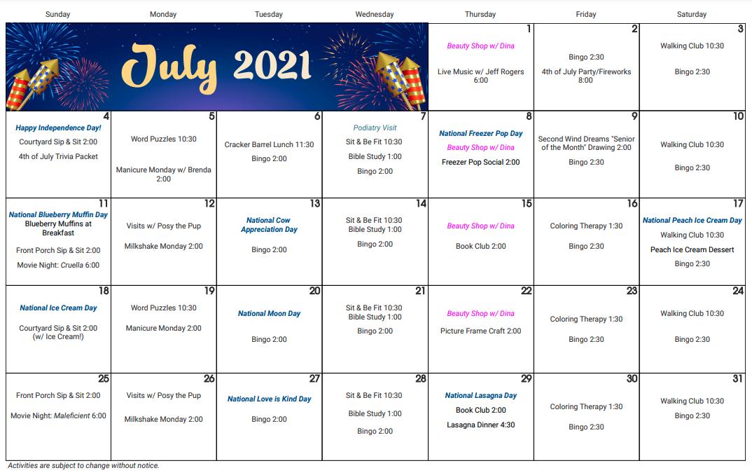 Twin Oaks July calendar