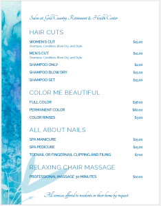 salon menu and prices