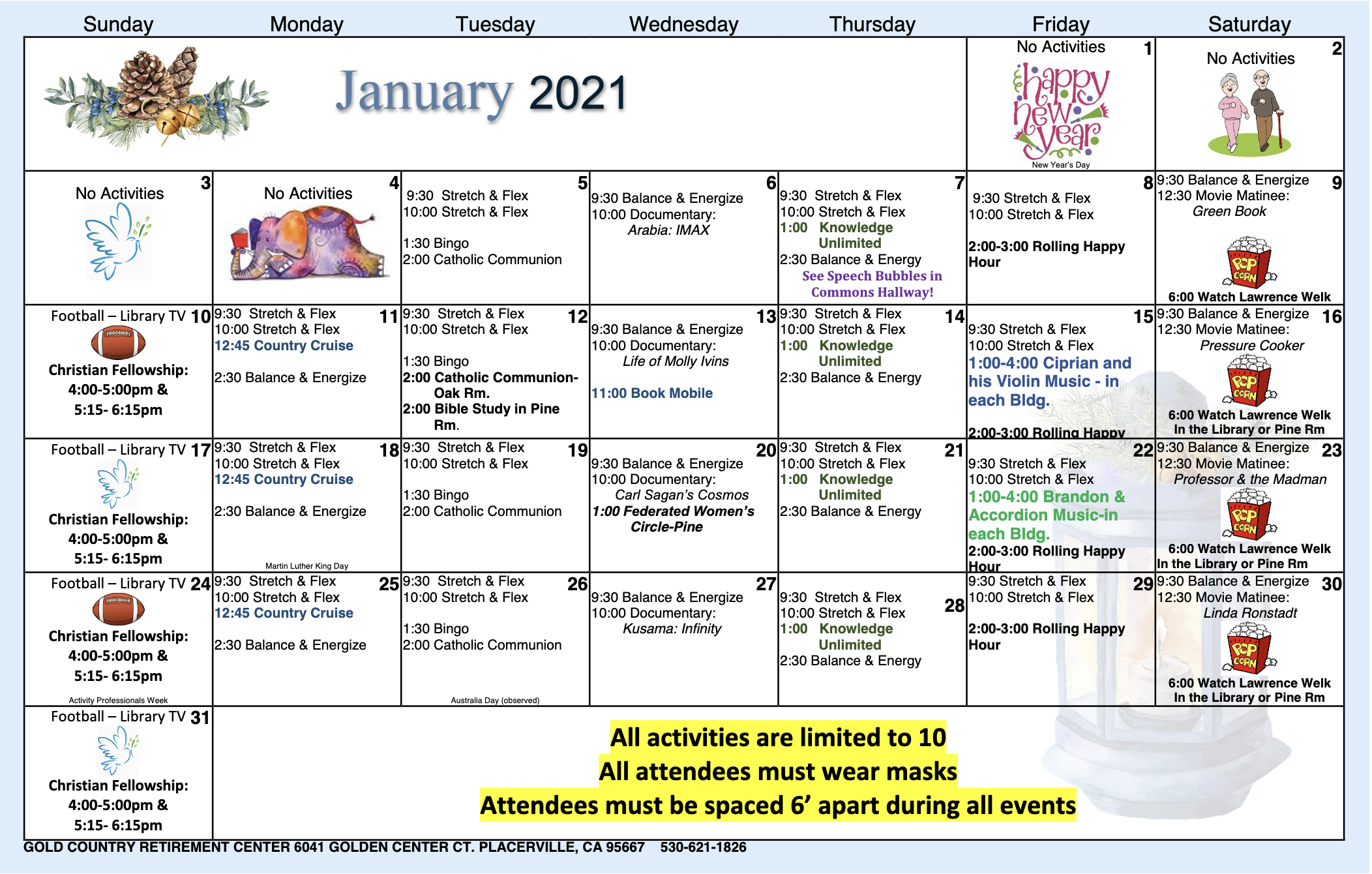 Gold Country IL Calendar For January