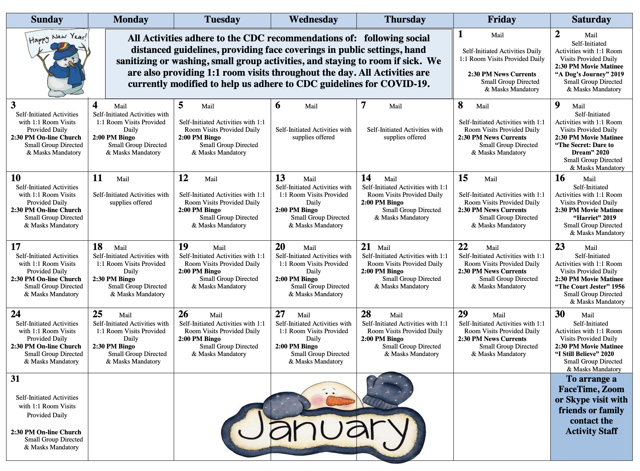 Gold Country January SNF Calendar