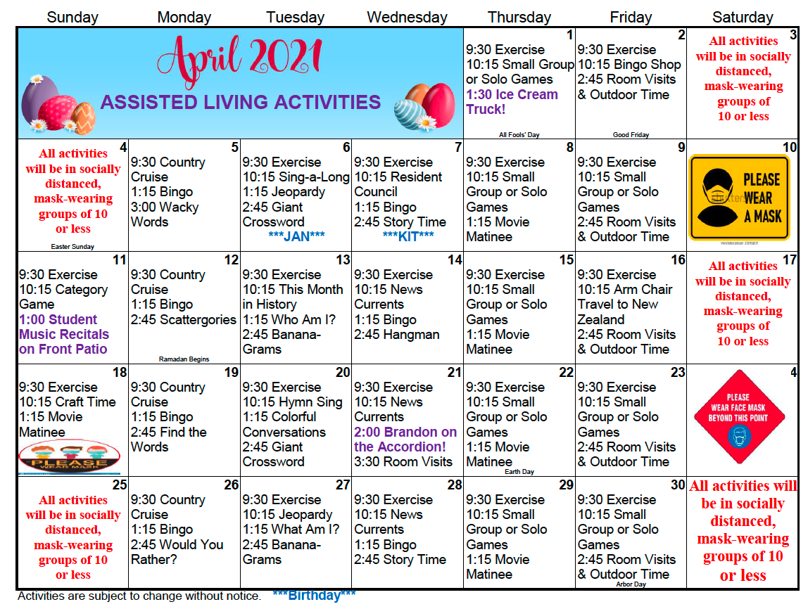 Gold Country AL April 2021 Activity Calendar