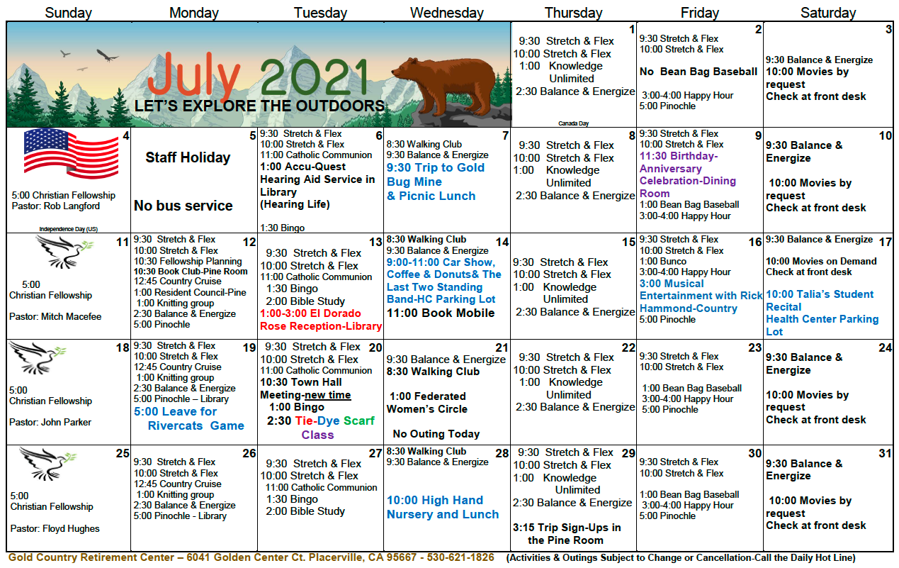 Gold Country IL July Calendar