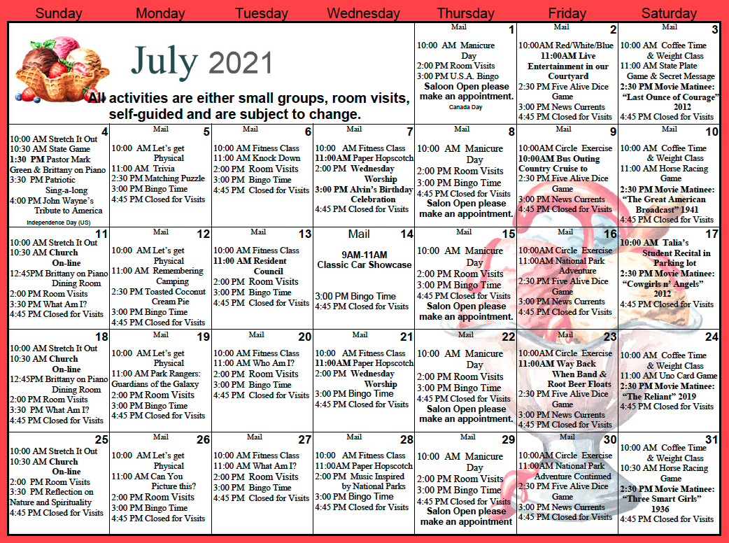 Gold Country SNF July Calendar