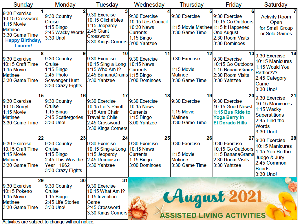 Gold Country AL August Calendar