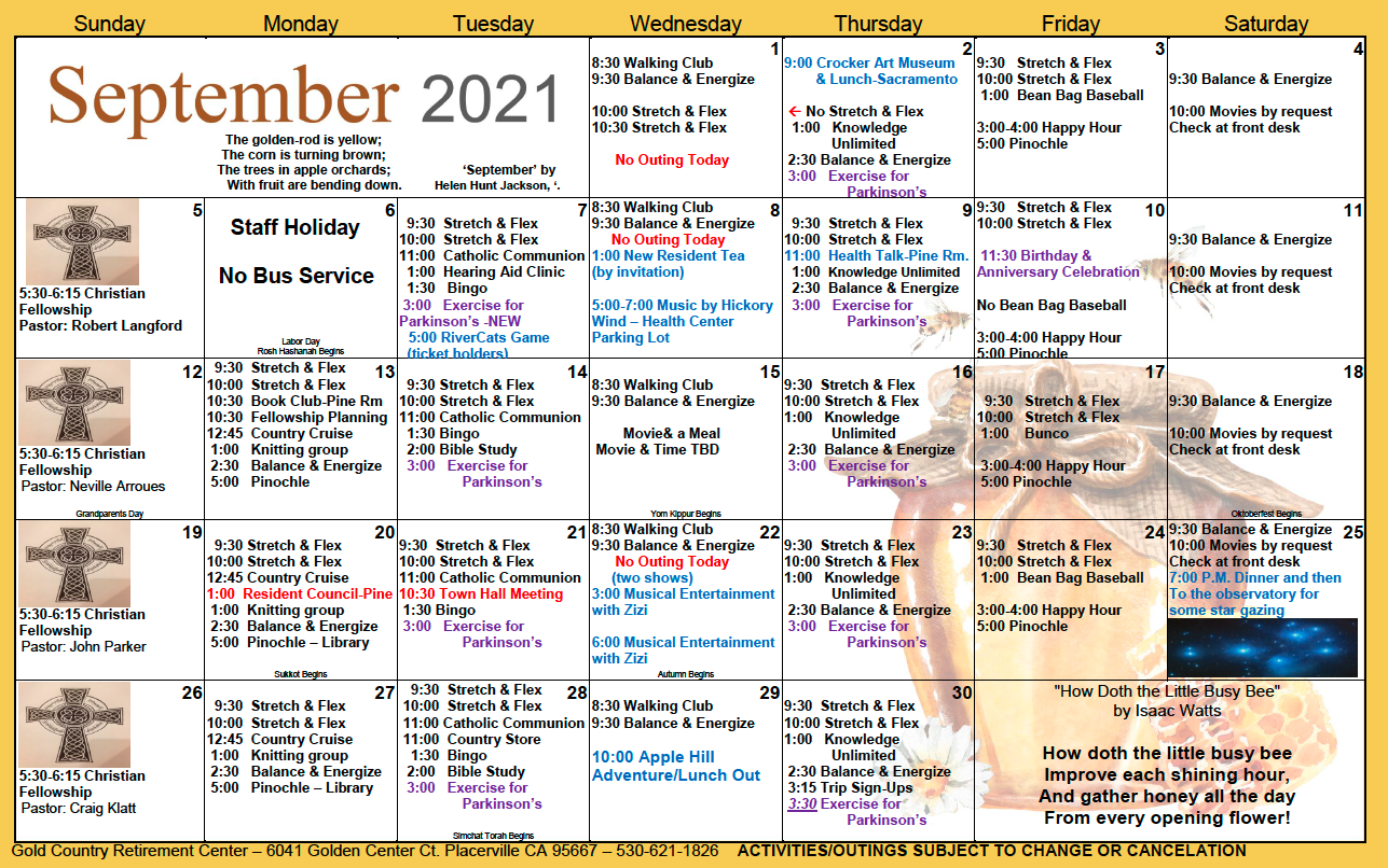 Gold Country IL September Calendar