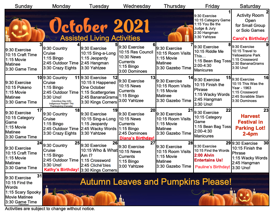 October 2021 Assisted Living Calendar
