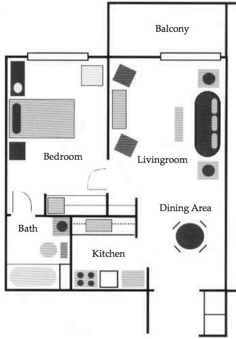 one bedroom corner unit floor plan