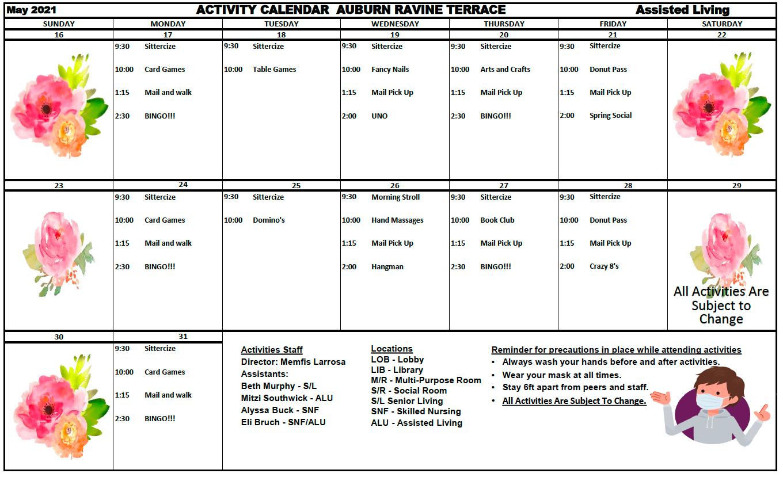 Auburn Ravine AL May Calendar Pg 2