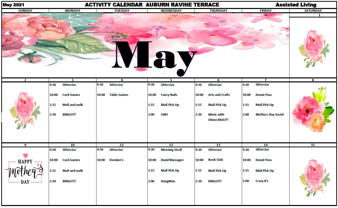Auburn Ravine AL Pg 1 May Calendar