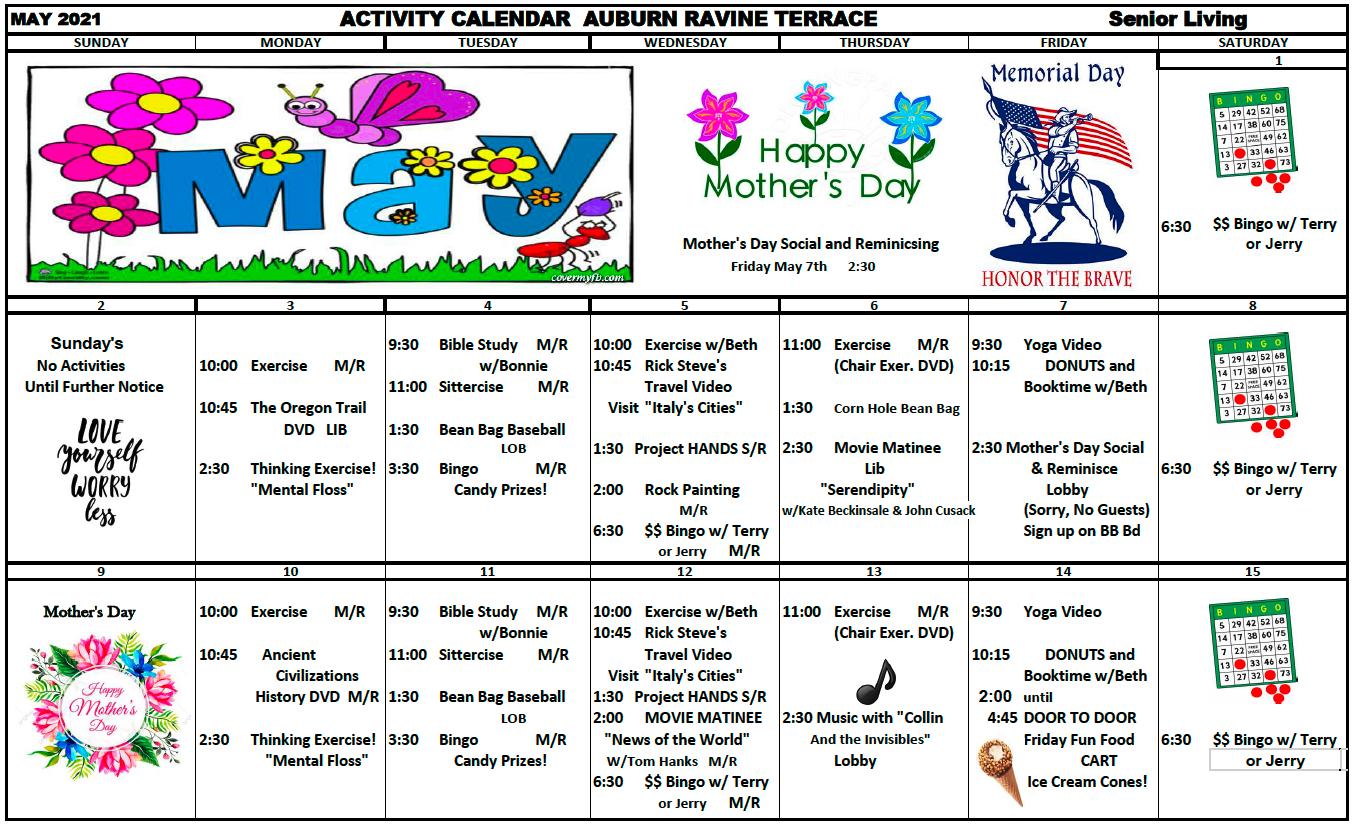 Auburn Ravine IL May Calendar Pg 1