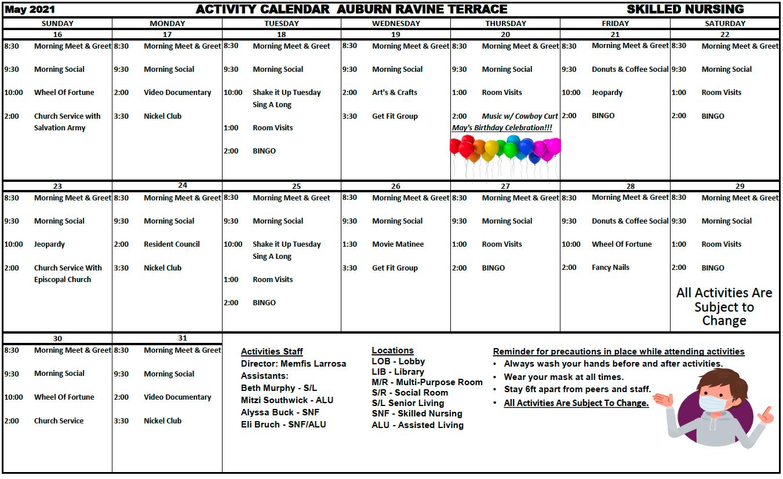 Auburn Ravine SNF May Calendar Pg 2