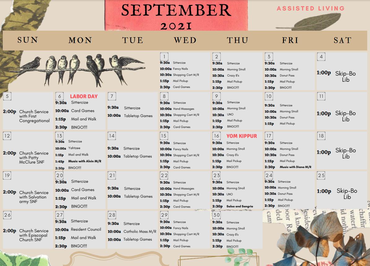 September 2021 Assisted Living Calendar