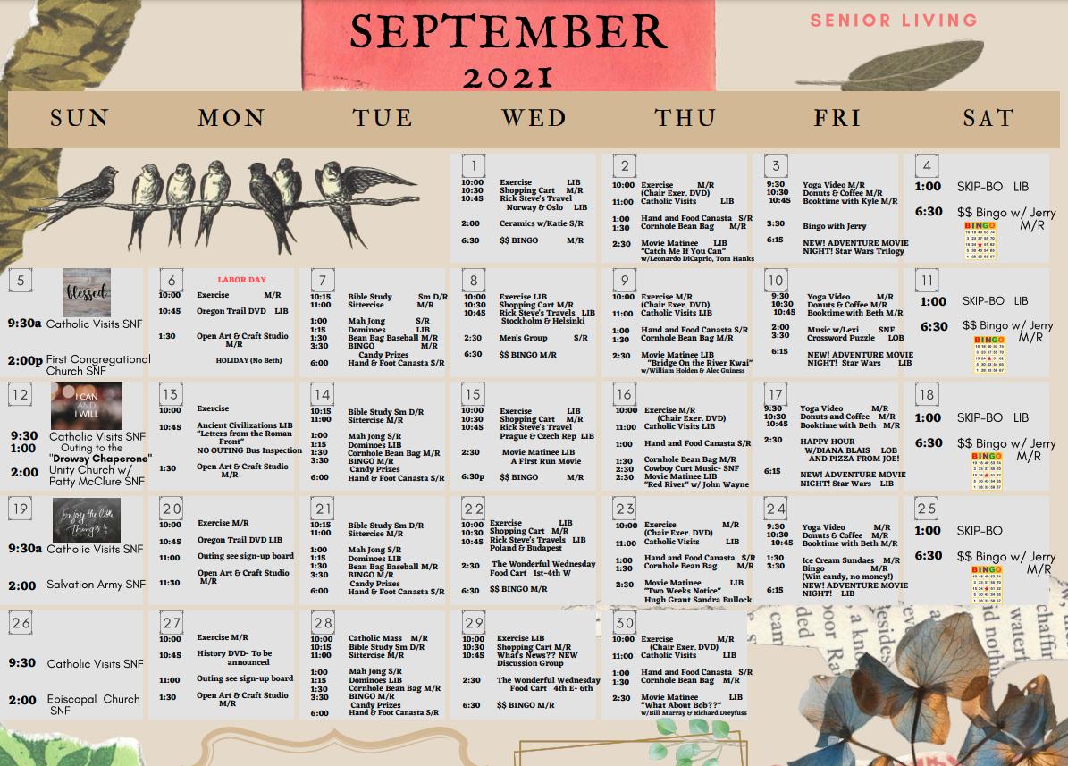 September 2021 Senior Living Calendar