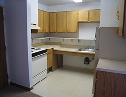 clean kitchen with fridge, sink and stove top