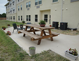 Bexton outdoor seating area with picnic table