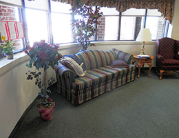 Cocalico flowers and couches in the lobby