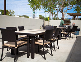 Congregational Towers outdoor patio with a BBQ