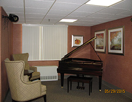 piano with close by seating