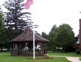 Douglas gazebo and US flag