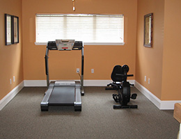 gym area with rowing machine and treadmill