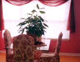 table with a plant centerpiece and red walls and curtains